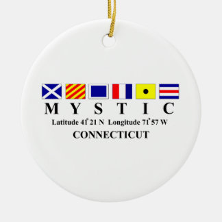 Mystic, CT - Longtitude & Latitude Ceramic Ornament