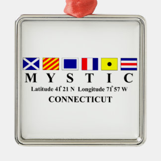 Mystic, CT - Longtitude & Latitude Metal Ornament