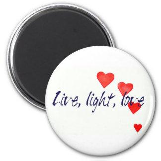 Mystic Edge/Live, light, love - Hearts Fridge Magnet