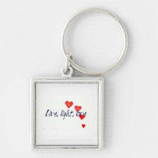 Mystic Edge/Live, light, love - Hearts Silver-Colored Square Keychain