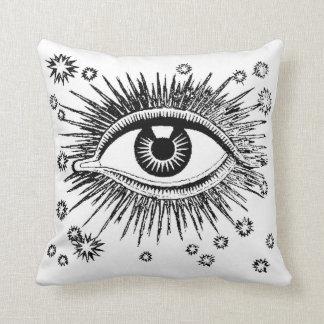Mystic Eye / Baroque Ornate Design Black on White Throw Pillow
