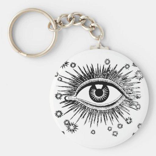 Mystic Eye Sees All Basic Round Button Keychain
