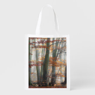 Mystic Foggy Forest in autumn, reuseable Reusable Grocery Bag
