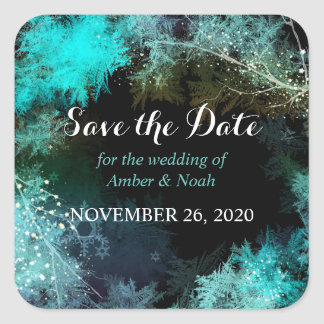 Mystic Forest Wedding Save the Date Square Sticker