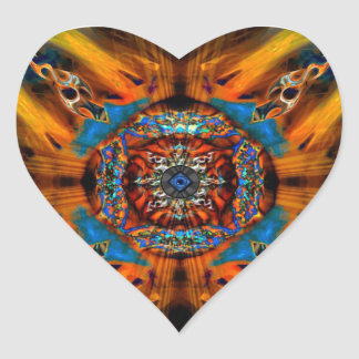 Mystic Fractal Heart Stickers