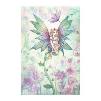 Mystic Garden Flower Fairy Wrapped Canvas Print