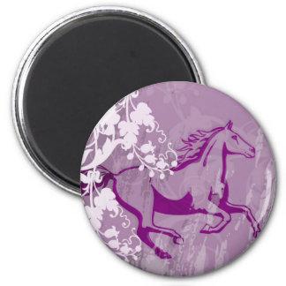 Mystic Garden Horse (Lt. Purple) 2 Inch Round Magnet