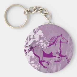 Mystic Garden Horse (Lt. Purple) Basic Round Button Keychain