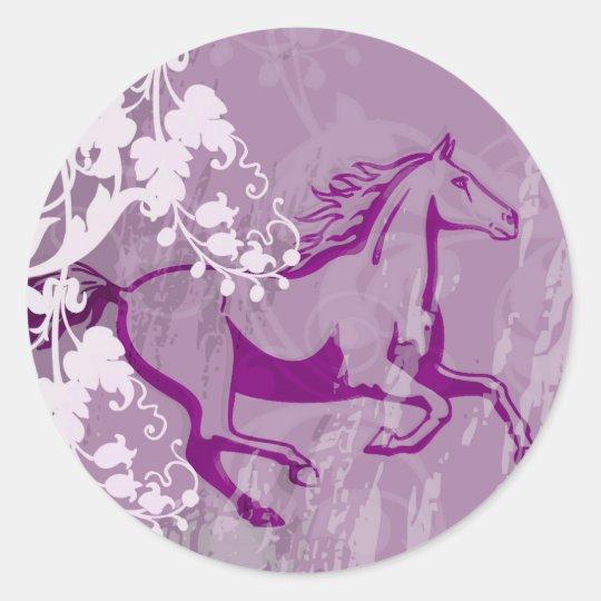 Mystic Garden Horse (Lt. Purple) Classic Round Sticker