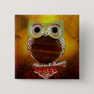Mystic Glow Gold & Wood Tree Owl Button