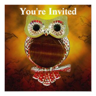 Mystic Glow Gold & Wood Tree Owl Card