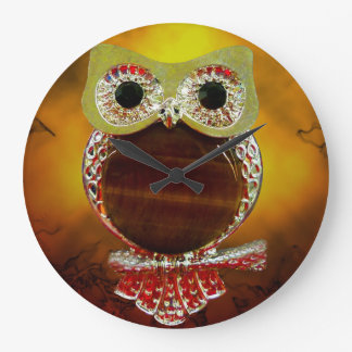 Mystic Glow Gold & Wood Tree Owl Large Clock