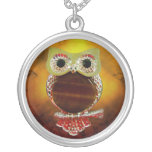Mystic Glow Gold & Wood Tree Owl Silver Plated Necklace