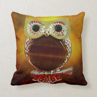 Mystic Glow Gold & Wood Tree Owl Throw Pillow