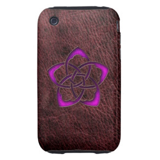 Mystic glow purple celtic flower on leather iPhone 3 tough covers