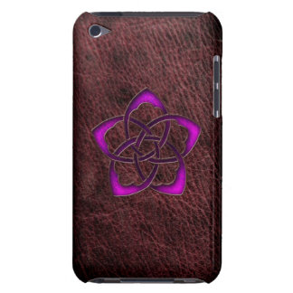 Mystic glow purple celtic flower on leather Case-Mate iPod touch case