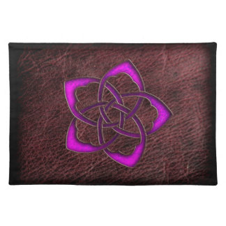 Mystic glow purple celtic flower on leather cloth placemat