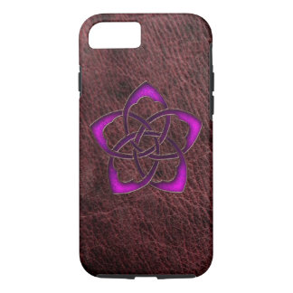 Mystic glow purple celtic flower on leather iPhone 7 case