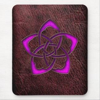 Mystic glow purple celtic flower on leather mouse pad