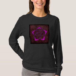 Mystic glow purple celtic flower on leather T-Shirt