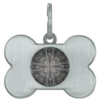 Mystic Gray Feather Kaleidoscope Pet ID Tag
