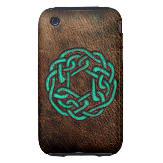 Mystic green celtic knot on leather iPhone 3 tough covers