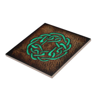 Mystic green celtic knot on leather ceramic tiles