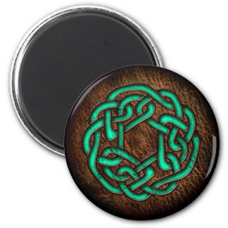 Mystic green celtic ornament on leather magnet