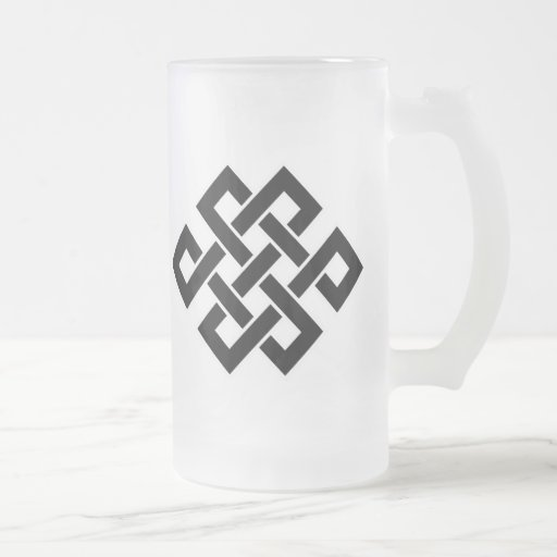Mystic Knot - B&W 2 Frosted Glass Beer Mug