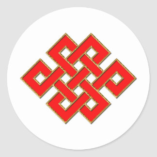 Mystic Knot - Red & Gold 1 Classic Round Sticker