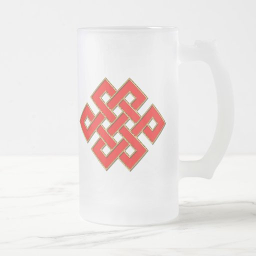 Mystic Knot - Red & Gold 1 16 Oz Frosted Glass Beer Mug