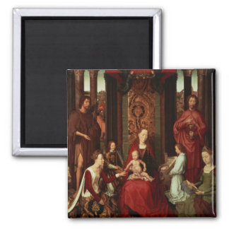 Mystic Marriage of St. Catherine and Other Saints 2 Inch Square Magnet