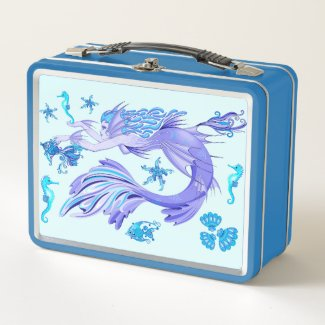 Mystic Mermaid Fairy Purple Creature Metal Lunch Box