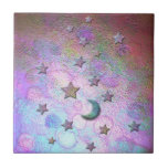 Mystic Metallic Moons and Stars Pastel Tiles