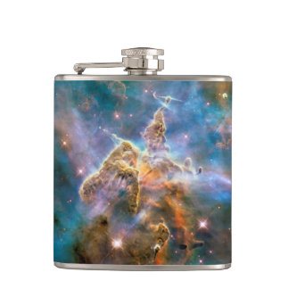 Mystic Mountain Carina Nebula Hubble Space Photo Hip Flask