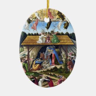 Mystic Nativity by Sandro Botticelli Double-Sided Oval Ceramic Christmas Ornament