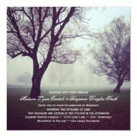 Mystic Oak Trees Country Wedding Invitations 5.25