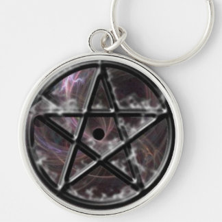 Mystic Pentagram Silver-Colored Round Keychain
