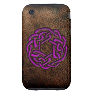 Mystic purple celtic knot on leather iPhone 3 tough cover