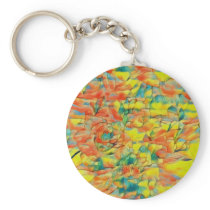Mystic Retro Rose Floral Painting Keychain