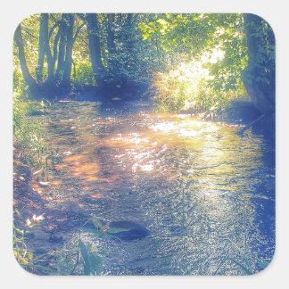 mystic river in summer square sticker