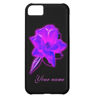 Mystic rose purple neon glow add name case for iPhone 5C
