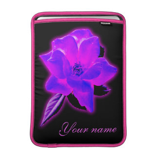 Mystic rose purple neon glow add name sleeve for MacBook air