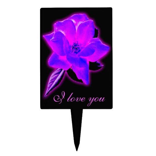 Mystic rose purple neon glow cake topper