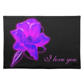 Mystic rose purple neon glow cloth placemat