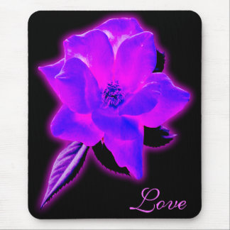 Mystic rose purple neon glow mouse pad