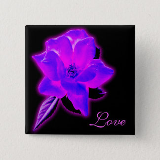Mystic rose purple neon glow pinback button
