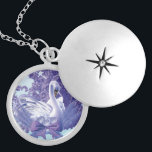 """mystic swan locket necklace<br><div class=""""desc"""">graceful,  mystic swan with unicorn like horn and cherry blossoms  Artwork by cglightNingART</div>"""
