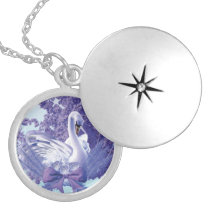 mystic swan locket necklace
