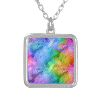 Mystic Topaz Blue Glassy Texture Silver Plated Necklace